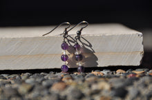 Load image into Gallery viewer, Amethyst and Citrine Beaded Dangle Earrings