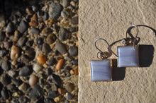 Load image into Gallery viewer, Light Blue Square Chalcedony Dangle Earrings