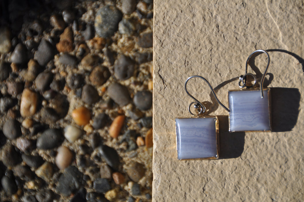 Light Blue Square Chalcedony Dangle Earrings
