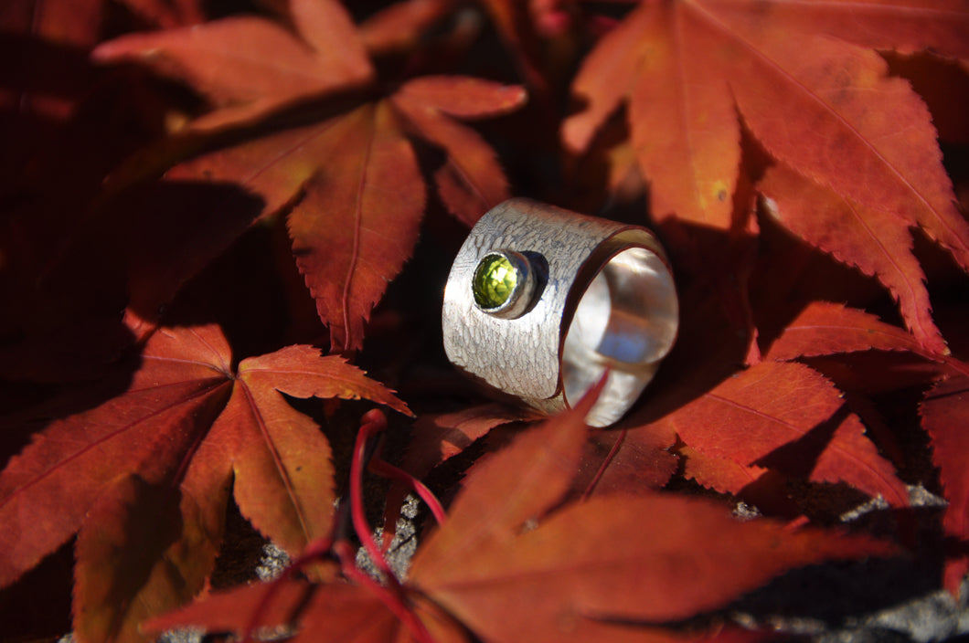 Peridot Birthstone Sterling Silver Wrap Ring