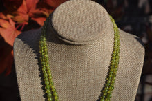 Load image into Gallery viewer, Peridot 2 Strand Birthstone Necklace with Inlaid Silver Clasp