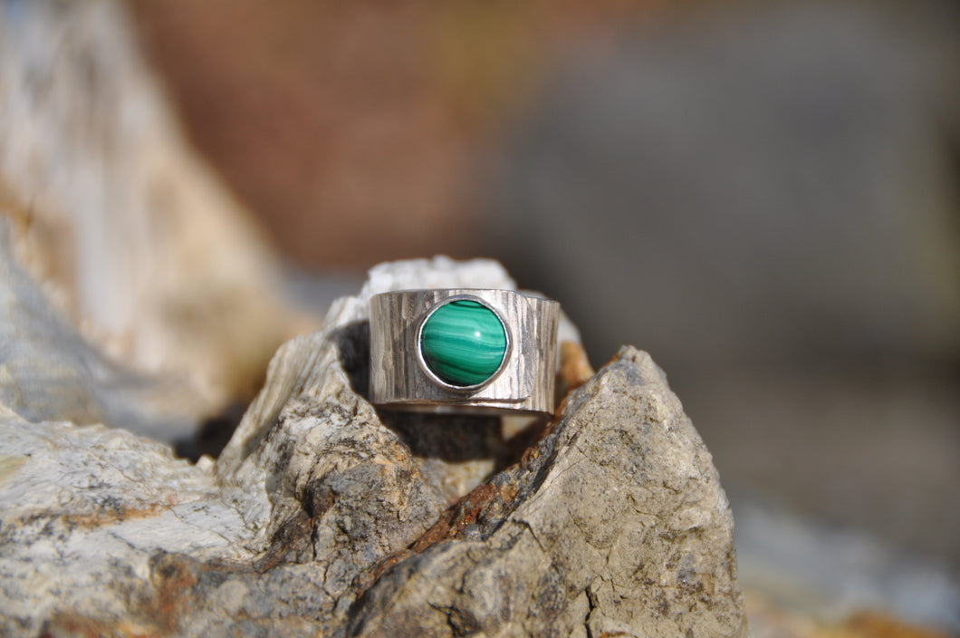 Malachite Sterling Silver Wrap Ring