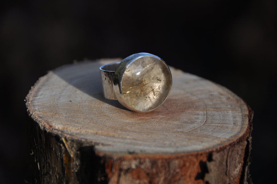 Rutilated Quartz Sterling Silver Ring
