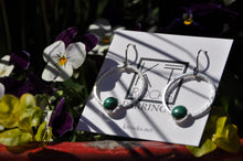 Load image into Gallery viewer, Malachite Sterling Silver Loop Earrings
