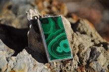 Load image into Gallery viewer, Malachite Sterling Silver Rectangle Pendant