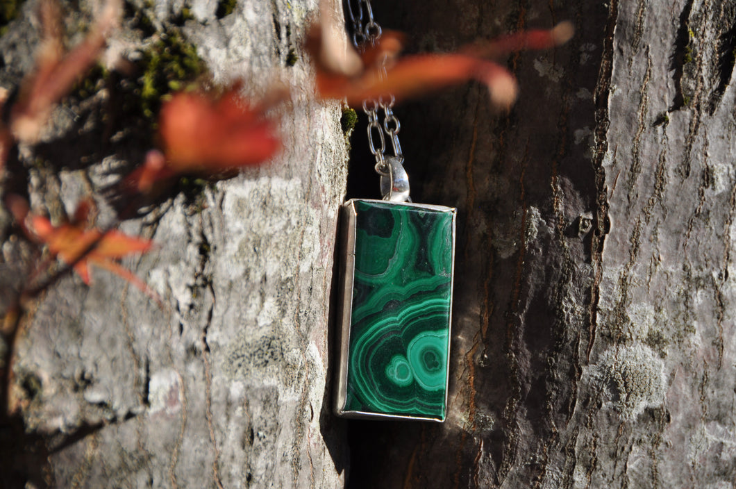 Malachite Sterling Silver Rectangle Pendant