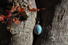 Load image into Gallery viewer, Larimar Oval Sterling Silver Pendant