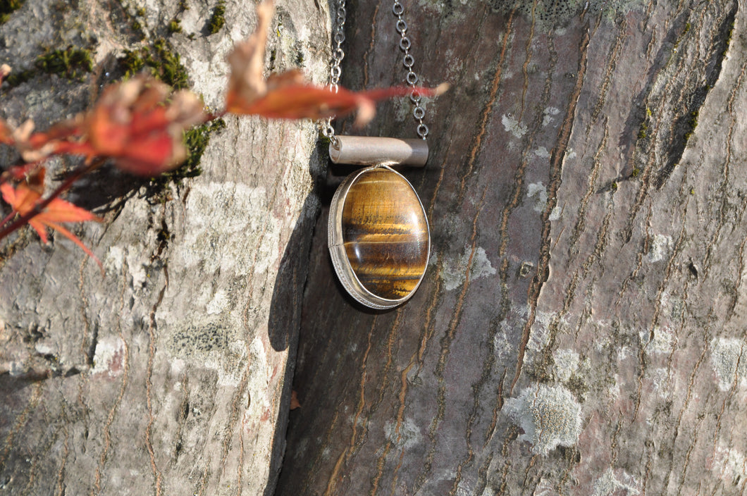 Oval Tiger Eye Pendant Bezel Set in Sterling Silver