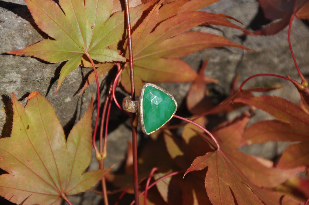Triangle Chrysoprase Sterling Silver Ring