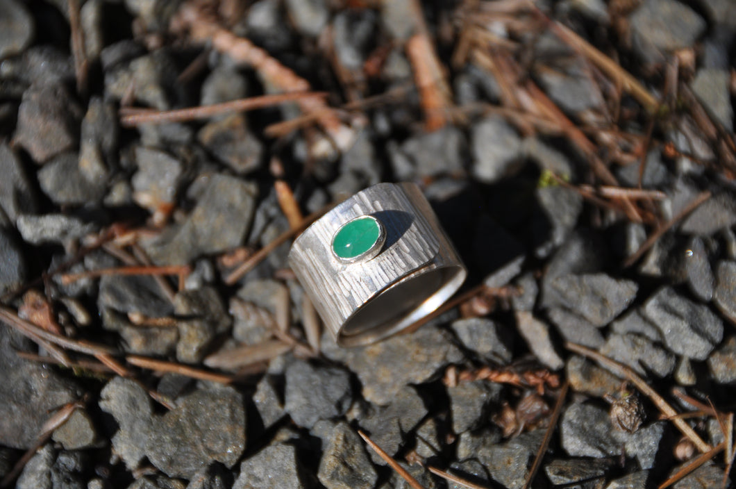 Emerald Birthstone Sterling Silver Wrap Ring