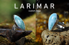 Load image into Gallery viewer, Custom Larimar Sterling Silver Cab Ring (1-3)