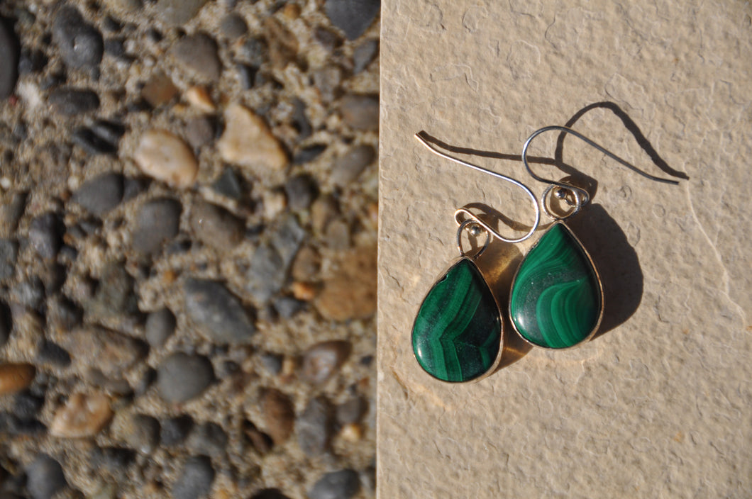 Malachite Teardrop Sterling Silver Dangle Earrings