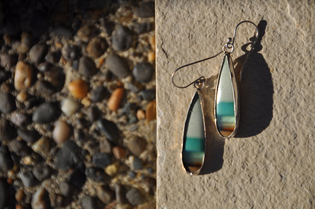 Opal Blue Green Teardrop Dangle Earrings
