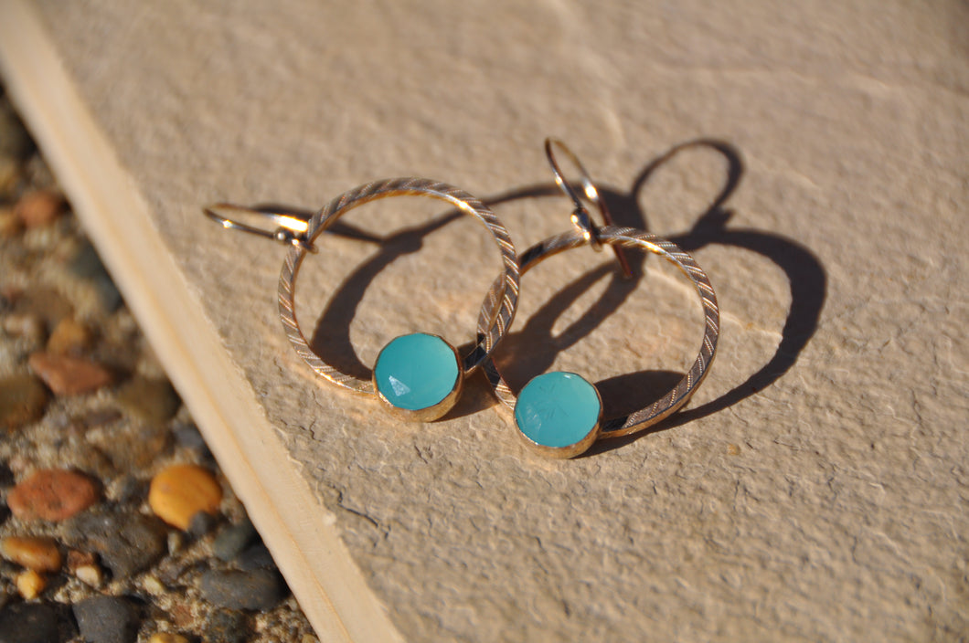 Blue Chalcedony Loop Dangle Earrings