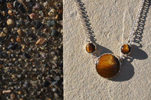 Load image into Gallery viewer, Tiger Eye 3 Stone Pendant Necklace