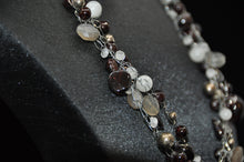 Load image into Gallery viewer, Garnet and Moonstone Braided Necklace