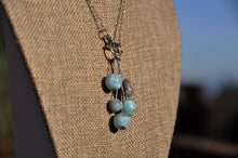 Load image into Gallery viewer, Larimar Drop Necklace on Silver Chain