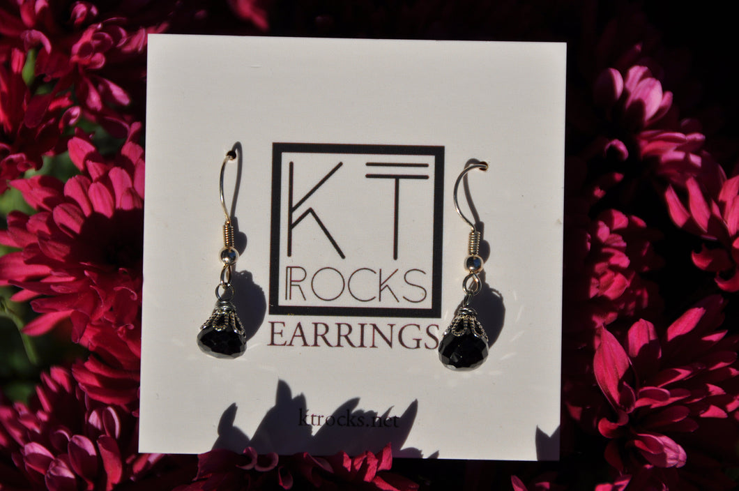Elegant Black Spinel Teardrop Dangle Earrings