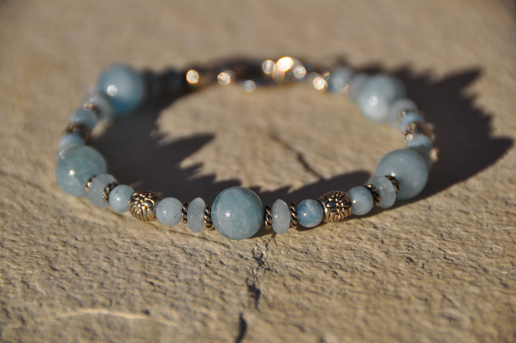 Aquamarine Birthstone Beaded Bracelet