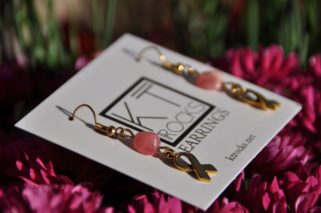 Pink Rhodochrosite and Ribbon Dangle Earrings