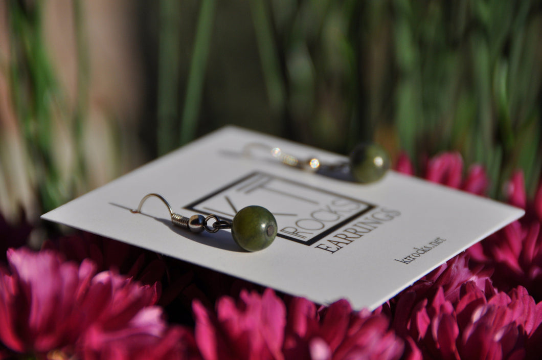 Green Jasper Dangle Earrings