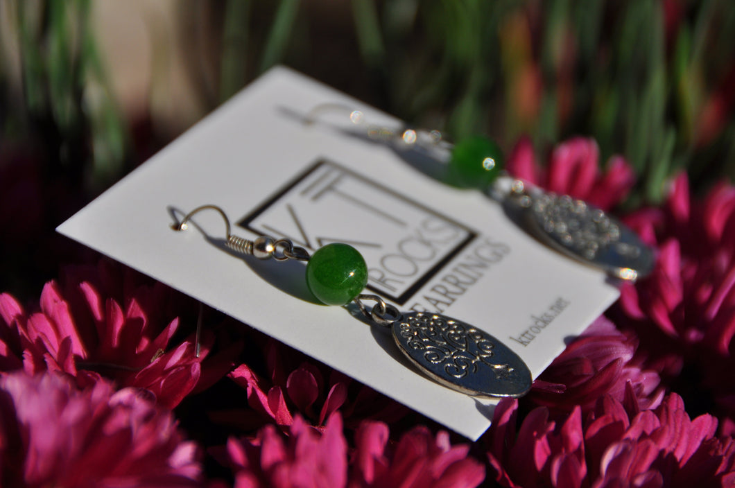 Green Jade and Silver Tree Dangle Earrings
