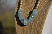 Load image into Gallery viewer, Aquamarine Necklace with Topaz Clasp