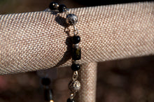 Load image into Gallery viewer, Black Tourmaline, Silver and Obsidian Bracelet