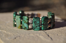 Load image into Gallery viewer, Rectangle Turquoise Beaded Bracelet