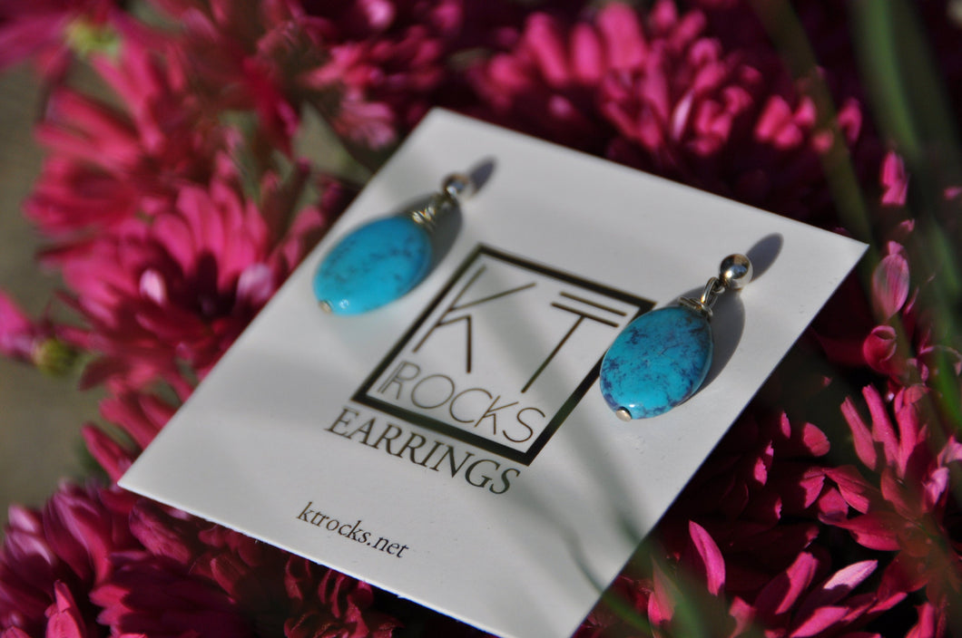 Turquoise Blue Oval Post Earrings