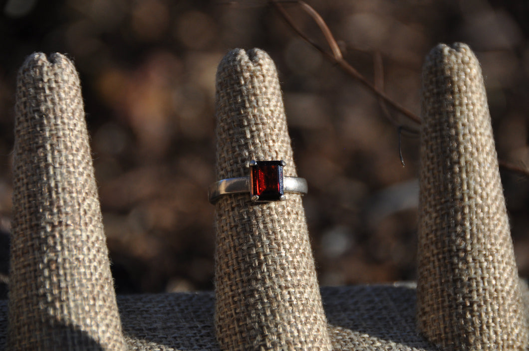 Radiant Cut Garnet Ring