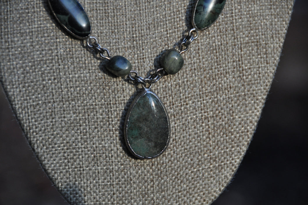 Kambaba Green Jasper Beaded Necklace with Drop Pendant