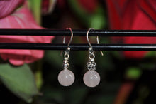 Load image into Gallery viewer, Round Rose Quartz Dangle Earrings