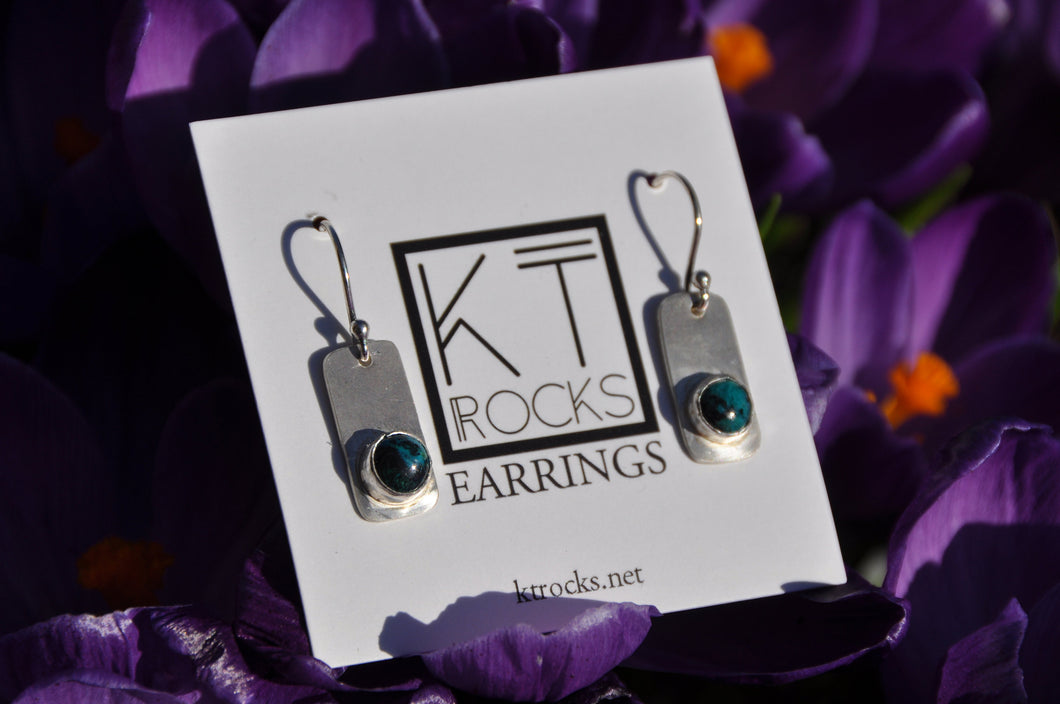 Round Chrysocolla Dangle Earrings