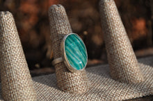 Load image into Gallery viewer, Oval Amazonite Bezel Set Sterling Silver Ring