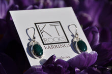Load image into Gallery viewer, Oval Blue Bloodstone Dangle Earrings