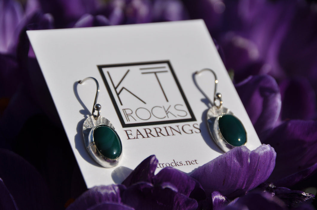 Oval Blue Bloodstone Dangle Earrings