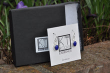 Load image into Gallery viewer, Lapis Blue Oval Dangle Earrings