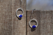 Cargar imagen en el visor de la galería, Lapis Blue Oval Loop Dangle Earrings