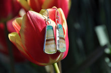 将图片加载到图库查看器,Opal Blue Green Trapezoid Dangle Earrings