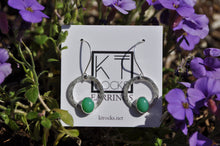 Load image into Gallery viewer, Green Oval Chrysoprase Loop Dangle Earrings
