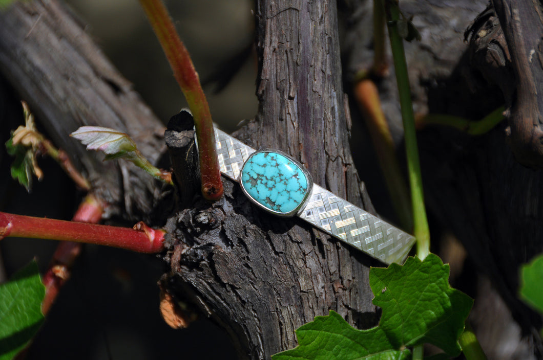 Oval Turquoise Birthstone Silver Cuff Bracelet