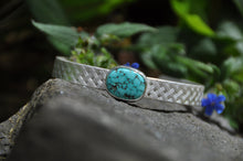 Load image into Gallery viewer, Oval Turquoise Birthstone Silver Cuff Bracelet