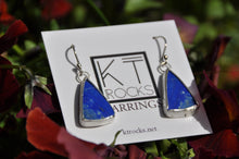 Load image into Gallery viewer, Lapis Blue Triangle Dangle Earrings Bezel Set in Sterling Silver