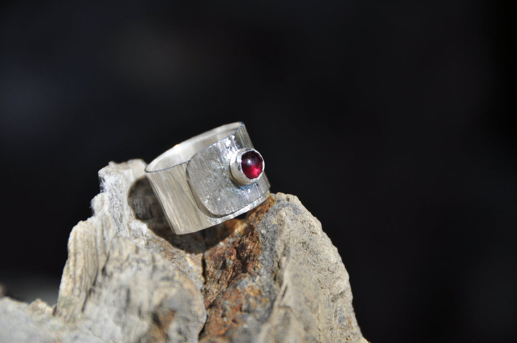Ruby Birthstone Sterling Silver Wrap Ring