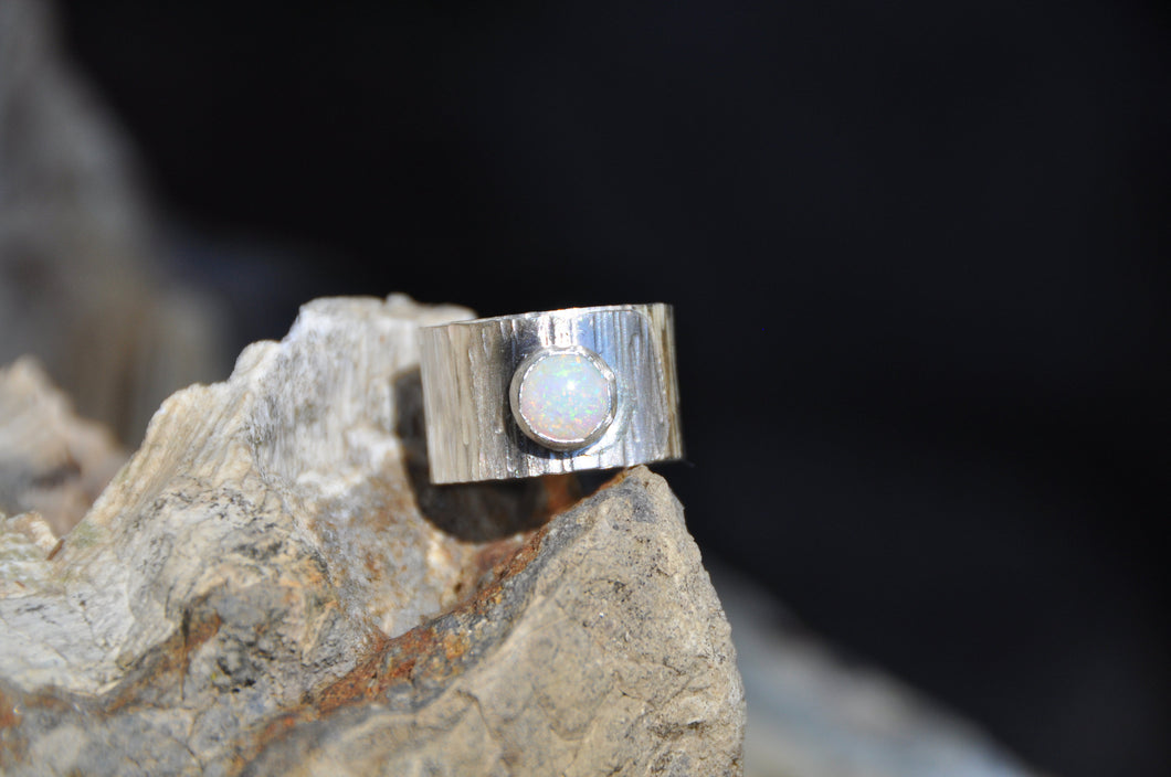 Opal Birthstone Sterling Silver Wrap Ring; October Birthstone