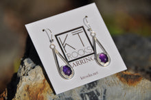 Load image into Gallery viewer, Oval Amethyst Teardrop Dangle Earrings
