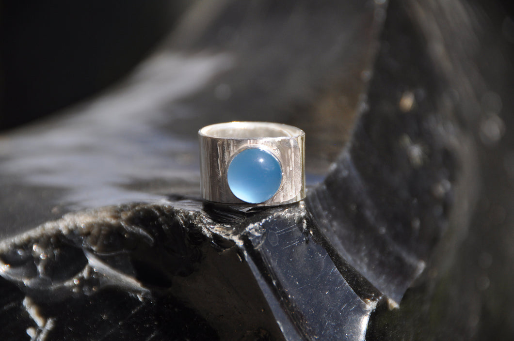 Blue Chalcedony Silver Hammered Wrap Ring