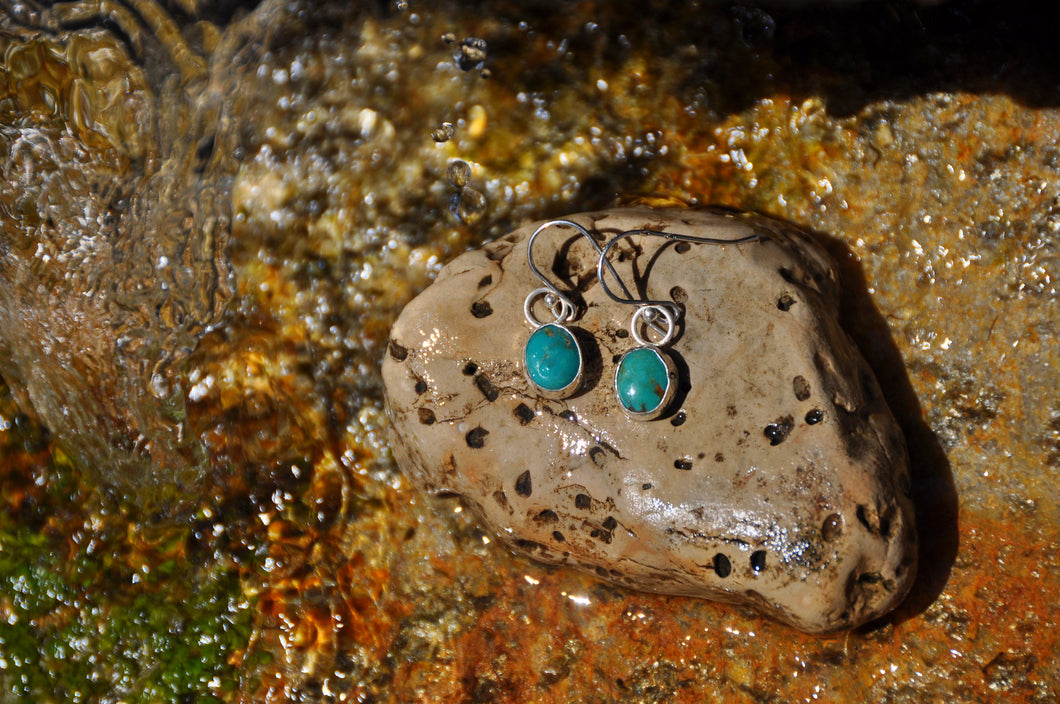 Oval Turquoise Dangle Earrings