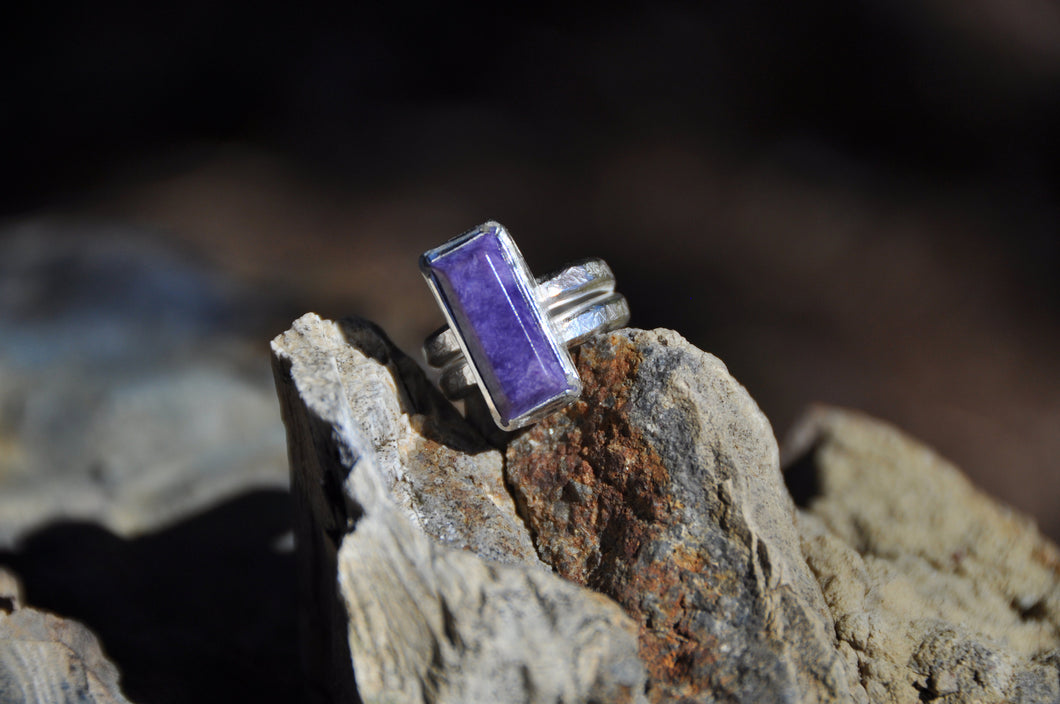 Rectangle Chaorite Sterling Silver Ring
